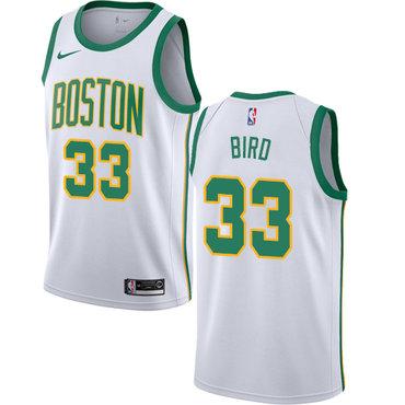 0809af1fa1b Celtics #33 Larry Bird White Basketball Swingman City Edition 2018-19 Jersey