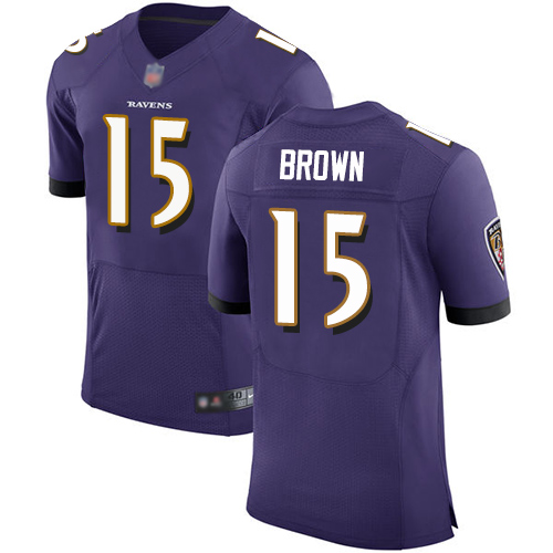 Ravens #15 Marquise Brown Purple Team Color Men's Stitched Football Vapor Untouchable Elite Jersey
