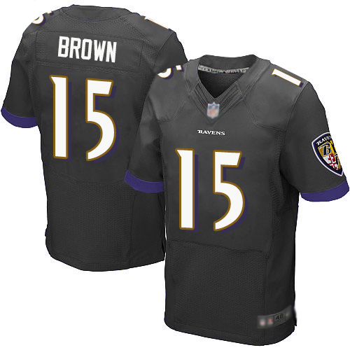 Ravens #15 Marquise Brown Black Alternate Men's Stitched Football New Elite Jersey