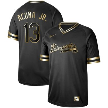 Braves #13 Ronald Acuna Jr. Black Gold Authentic Stitched Baseball Jersey