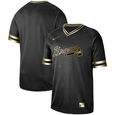 Braves Blank Black Gold Authentic Stitched Baseball Jersey