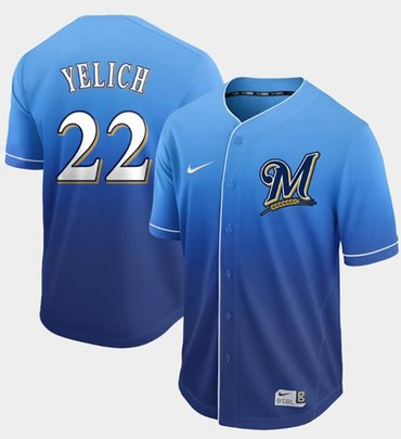 07e0253befa Home » Men s MLB Jerseys » Milwaukee Brewers. Brewers  22 Christian Yelich  Royal Fade Authentic Stitched Baseball Jersey