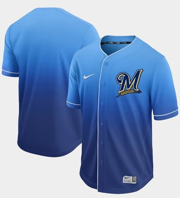 Brewers Blank Royal Fade Authentic Stitched Baseball Jersey