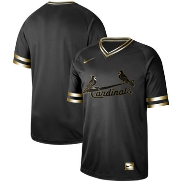 Cardinals Blank Black Gold Authentic Stitched Baseball Jersey