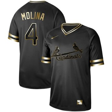 ebb4166a7 Cardinals  4 Yadier Molina Black Gold Authentic Stitched Baseball Jersey