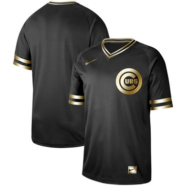 Cubs Blank Black Gold Authentic Stitched Baseball Jersey