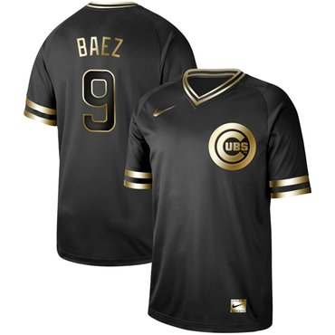 Cubs #9 Javier Baez Black Gold Authentic Stitched Baseball Jersey