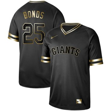 Giants #25 Barry Bonds Black Gold Authentic Stitched Baseball Jersey