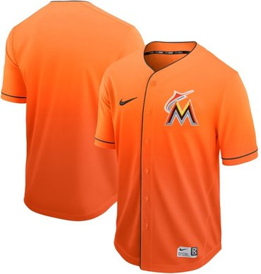 marlins Blank Orange Fade Authentic Stitched Baseball Jersey