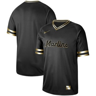 marlins Blank Black Gold Authentic Stitched Baseball Jersey