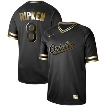 Orioles #8 Cal Ripken Black Gold Authentic Stitched Baseball Jersey