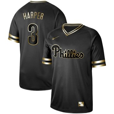 newest 776ec 7a673 Phillies #3 Bryce Harper Black Gold Authentic Stitched ...