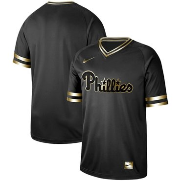 Phillies Blank Black Gold Authentic Stitched Baseball Jersey