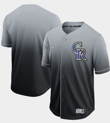 Rockies Blank Black Fade Authentic Stitched Baseball Jersey