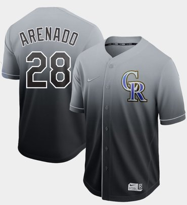 Rockies #28 Nolan Arenado Black Fade Authentic Stitched Baseball Jersey