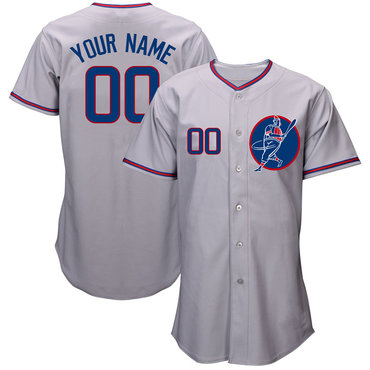 Cubs Gray Men's Customized Cool Base New Design Jersey