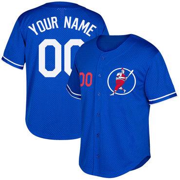 Dodgers Blue Men's Customized Cool Base New Design Jersey