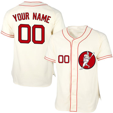 Red Sox Cream Men's Customized Cool Base New Design Jersey