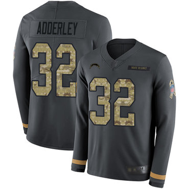 309826bac6f Chargers  32 Nasir Adderley Anthracite Salute to Service Men s Stitched  Football Limited Therma Long Sleeve