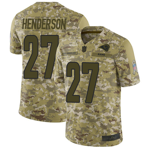 cd90d45c8 Rams  27 Darrell Henderson Camo Men s Stitched Football Limited 2018 Salute  To Service Jersey
