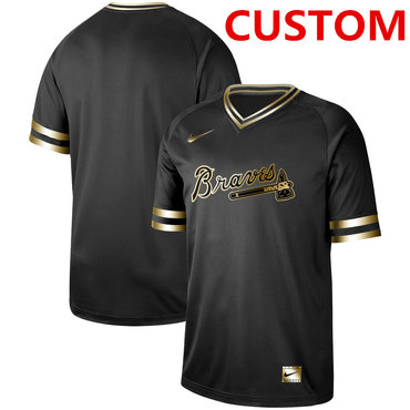 Men's Atlanta Braves Customized Black Gold Flexbase Jersey