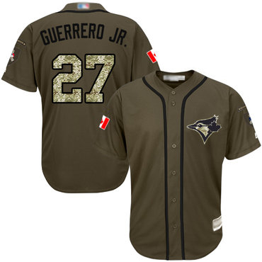 Men's Toronto Blue Jays #27 Vladimir Guerrero Jr. Green Salute to Service Stitched Baseball Jersey