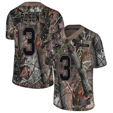 Dolphins #3 Josh Rosen Camo Men's Stitched Football Limited Rush Realtree Jersey