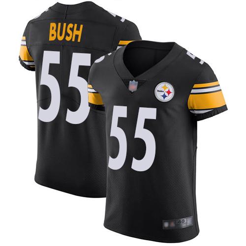a63e365d6 Steelers  55 Devin Bush Black Team Color Men s Stitched Football Vapor  Untouchable Elite Jersey