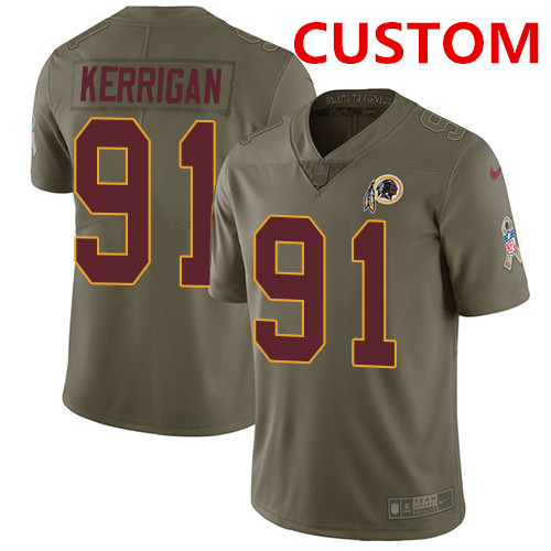 6feaeebf123 Custom Washington Redskins Men s Stitched Football Limited 2017 Salute to  Service Olive Jersey