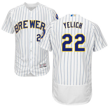 b571083cf Brewers  22 Christian Yelich White Strip Flexbase Authentic Collection Stitched  Baseball Jersey