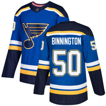 Blues #50 Jordan Binnington Blue Home Authentic Stitched Hockey Jersey