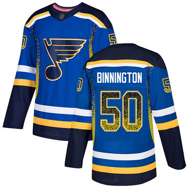 Blues #50 Jordan Binnington Blue Home Authentic Drift Fashion Stitched Hockey Jersey