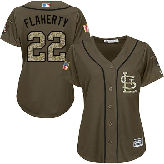 Women's St. Louis Cardinals #22 Jack Flaherty Authentic Green Salute to Service Jersey