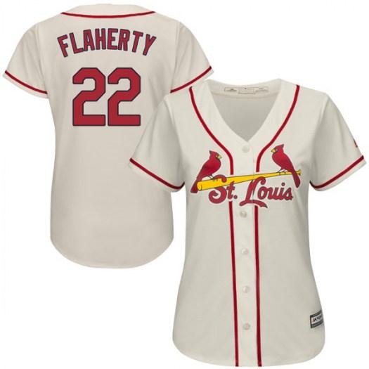Women's St. Louis Cardinals #22 Jack Flaherty Authentic Cream Cool Base Alternate Jersey