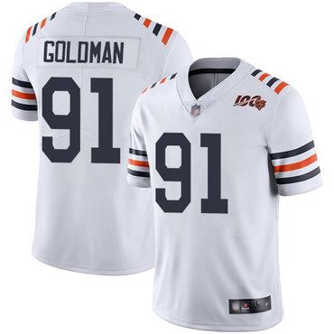 Bears #91 Eddie Goldman White Alternate Men's Stitched Football Vapor Untouchable Limited 100th Season Jersey