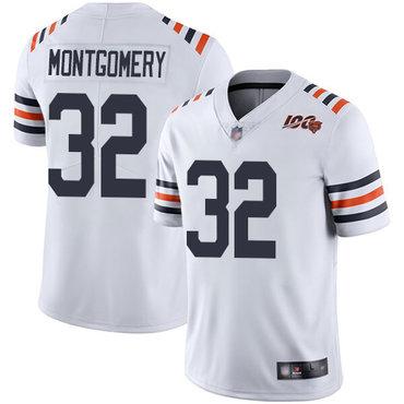 Bears #32 David Montgomery White Alternate Men's Stitched Football Vapor Untouchable Limited 100th Season Jersey