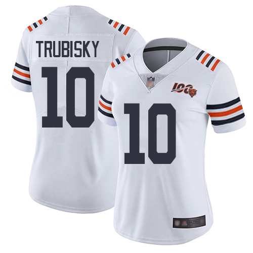 Bears #10 Mitchell Trubisky White Alternate Women's Stitched Football Vapor Untouchable Limited 100th Season Jersey