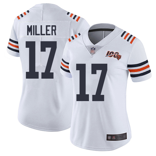 Bears #17 Anthony Miller White Alternate Women's Stitched Football Vapor Untouchable Limited 100th Season Jersey