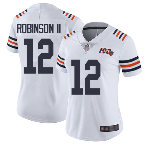 Bears #12 Allen Robinson II White Alternate Women's Stitched Football Vapor Untouchable Limited 100th Season Jersey