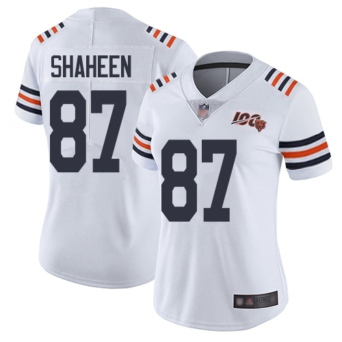 Bears #87 Adam Shaheen White Alternate Women's Stitched Football Vapor Untouchable Limited 100th Season Jersey