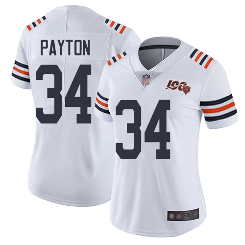 Bears #34 Walter Payton White Alternate Women's Stitched Football Vapor Untouchable Limited 100th Season Jersey
