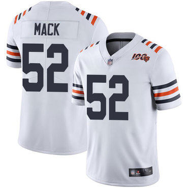 Bears #52 Khalil Mack White Alternate Youth Stitched Football Vapor Untouchable Limited 100th Season Jersey
