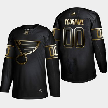 Men's St. Louis Blues Customized Black Gold Adidas Jersey
