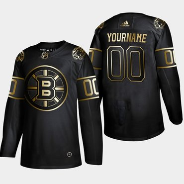 Men's Boston Bruins Customized Black Gold Adidas Jersey