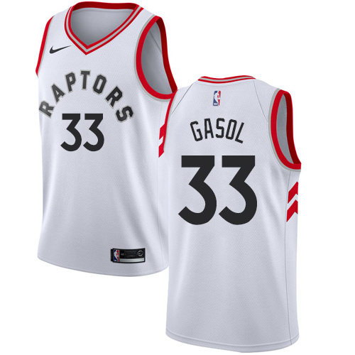 Raptors #33 Marc Gasol White Youth Basketball Swingman Association Edition Jersey