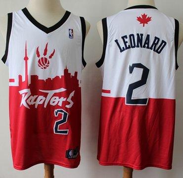 cheaper c98a5 9de6d Raptors #2 Kawhi Leonard White Red Basketball Swingman City ...