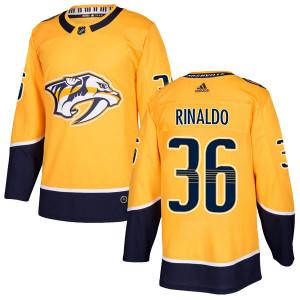 Adidas #36 Zac Rinaldo Nashville Predators Men's Authentic Home Gold Jersey
