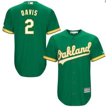 Men's Oakland Athletics 2# Khris Davis Kelly Green Alternate Jersey