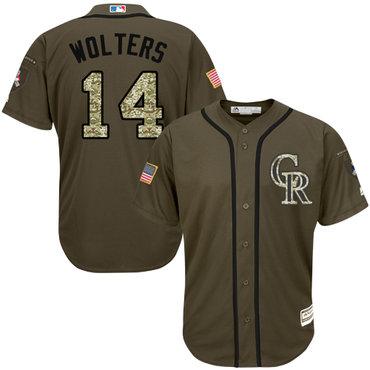 Rockies #14 Tony Wolters Green Salute to Service Stitched Baseball Jersey