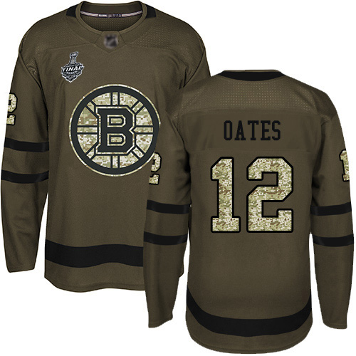 Men's Boston Bruins #12 Adam Oates Green Salute to Service 2019 Stanley Cup Final Bound Stitched Hockey Jersey